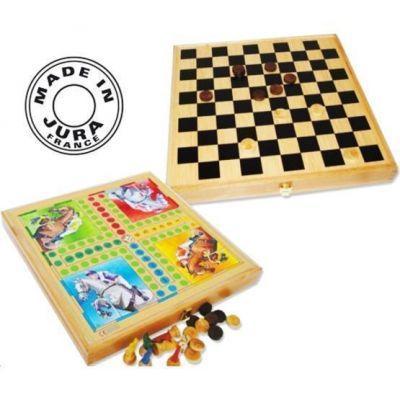 Coffret de jeux en bois de 4 jeux de société (chevaux, oie, dames et marelle)