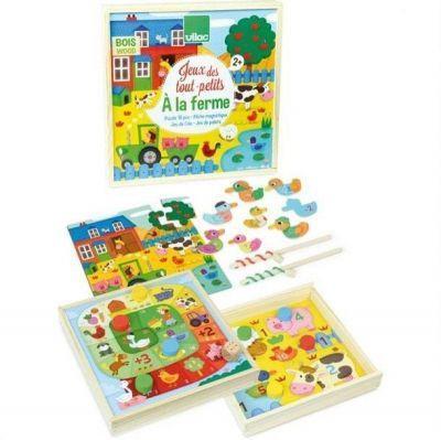 Jeux des tout petits à la ferme coffret 4 jeux (puzzle, jeu de l'oie, jeu du palet, jeu de pêche)
