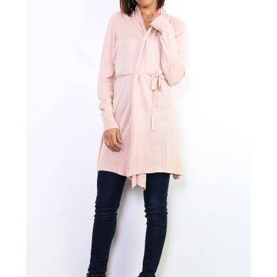 Gilet long à nouer rose poudré